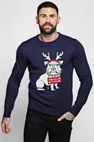 Faux Fur Detail Bull Dog Christmas Jumper