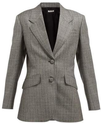Miu Miu Prince Of Wales-checked Wool Blazer - Womens - Grey