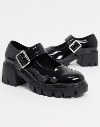 ASOS DESIGN Skittle chunky mary jane mid heels in black