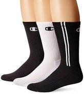 Champion Men's 3 Pack Dyed Crew Socks, Red/White/Black, 10-13/Shoe Size 6-12