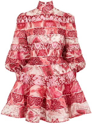 Zimmermann Wavelength Spliced linen-blend mini dress