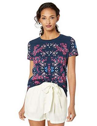 Lucky Brand Women's Multi Color Floral Embroidered TEE