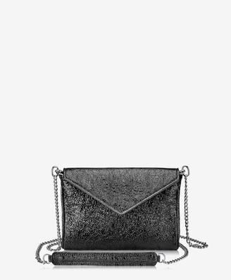 GiGi New York Lena Crossbody, Black Crackle Metallic Leather