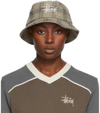 Stussy Off-White Plaid Big Logo Bucket Hat