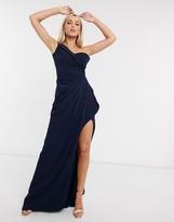 Bardot Yaura maxi dress with thigh split in navy