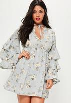 Missguided Plus Size Blue Shade Floral Print Frill Sleeve Dress, Blue