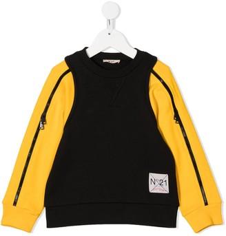 No21 Kids Two-Tone Zip Detail Sweatshirt