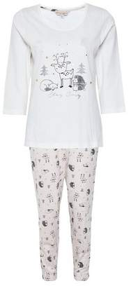 Dorothy Perkins Womens Cream Woodland Animals Print Cotton Pyjama Set, Cream