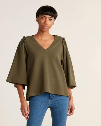 1 STATE 1.State V-neck Bell Sleeve Knit Top