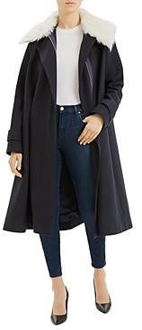 Theory Cloak Coat with Shearling Trim