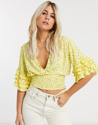 Faithfull The Brand Faithfull gisele floral top with short sleeve