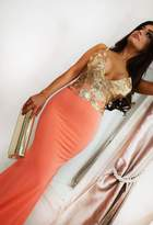 Pink Boutique Andressa Coral and Gold Maxi Dress
