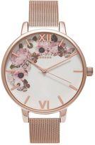 Olivia Burton **Winter Garden Rose Gold Mesh Watch