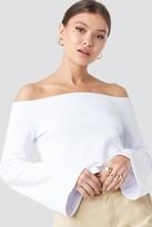 NA-KD Josefine Simone X Off Shoulder Cropped Sweatshirt White