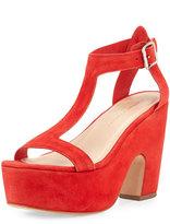 Loeffler Randall Minette Suede Platform Sandal, Poppy