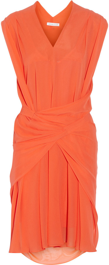 See by Chloe Draped silk-georgette dress