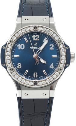 Hublot Blue Dial Big Bang Stainless Steel Diamond Bezel Women's Watch 38MM