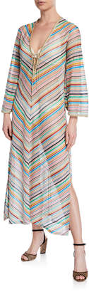 Missoni Mare Stripped Long-Sleeve Coverup Dress