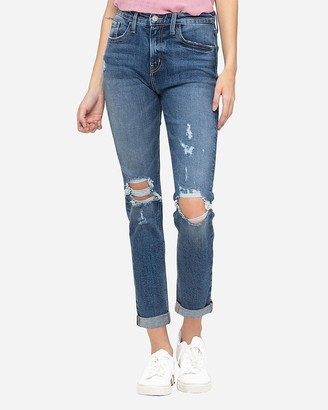Express Flying Monkey High Waisted Ripped Stretch Boyfriend Jeans