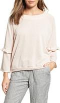 Caslon Ruffle Trim Bell Sleeve Sweatshirt