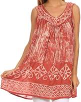 Sakkas 84 - Wanda May Embroidered Batik Scoop Neck Relaxed Fit Sleeveless Blouse - OS
