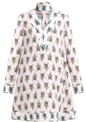 Emilia Wickstead Camomile Floral-print Crepe Mini Dress - Womens - Pink Multi