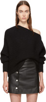 Alexander Wang Black Mohair Asymmetric Sweater
