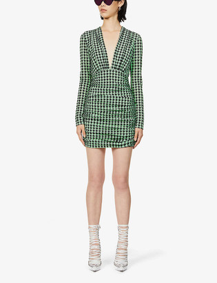 David Koma Houndstooth-pattern stretch-knit mini dress