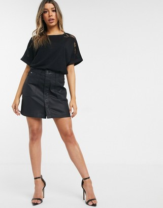G Star G-Star coated mini skirt in black