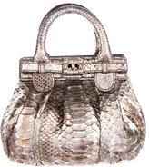 Zagliani Metallic Python Handle Bag