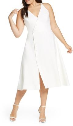 Dress the Population Emily Asymmetrical Front Button Cocktail Dress