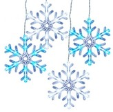 "Philips 5ct Christmas LED 8"" Hanging Snowflake Icicle Light String - Cool White and Blue"