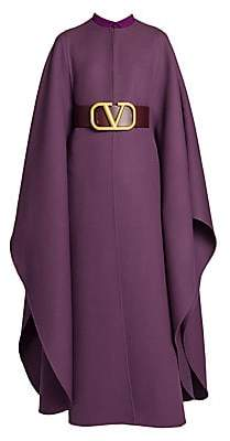 Valentino Women's Double Worsted Wool Long Belted Cape Coat