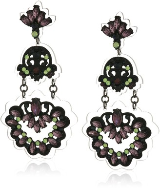 Steve Madden Black-Tone Multi-Color Casted Stone Floral Design Down Post Drop Earrings