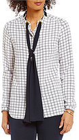 MICHAEL Michael Kors Windowpane Print Scarf Tie-Neck Blouse