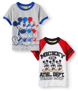 Disney Mickey Mouse Short Sleeve T-Shirt, 2 Pack (Little Boys)