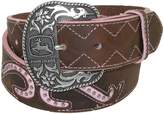 John Deere Women's Leather Pink Scroll Western Belt with Removable Buckle