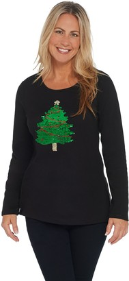 Quacker Factory Reversible Sequin Christmas Tree Knit Top