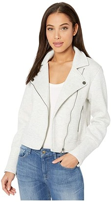 Cupcakes And Cashmere Anabelle Pique Knit Moto Jacket (Heather Ash) Women's Clothing