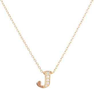 Latelita Diamond Initial Letter Pendant Necklace Rose Gold J