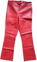 Vicolo Red Leather Trousers for Women