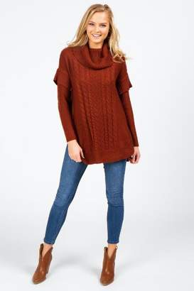 francesca's Kylie Cable Knit Poncho - Rust
