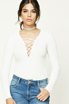 Forever 21 FOREVER 21+ Ribbed Plunging Lace-Up Top