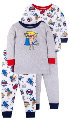 Little Star Organic Baby & Toddler Boy Long Sleeve Snug Fit Cotton Pajamas, 4pc Set