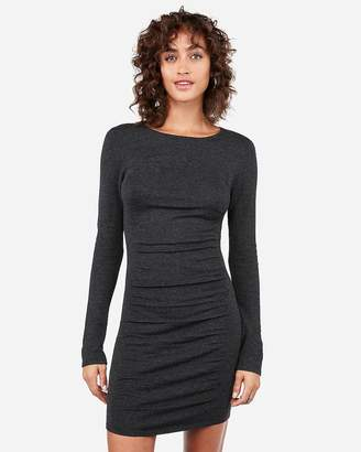 Express Heathered Ruched Long Sleeve Sweater Dress
