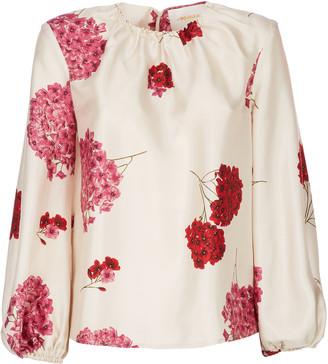La DoubleJ Charming Floral-Print Silk Blouse