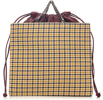 Victoria Beckham Graphic Houndstooth Tweed Shopper Bag