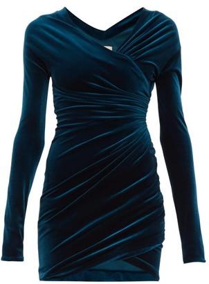 Alexandre Vauthier Wrap-effect Velvet Mini Dress - Blue