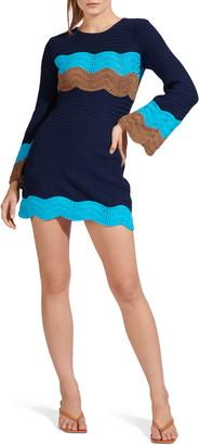 STAUD Antoni Crochet Long Sleeve Sweater Minidress