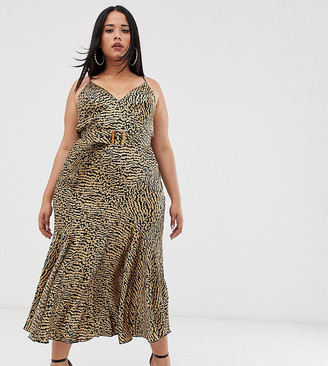 Asos DESIGN Curve bias cut maxi slip dress in leopard print with bamboo belt